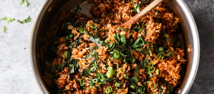 Vegan Brown Rice Jambalaya with Black Eyed Peas and Collards