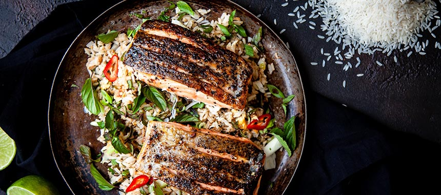 Salt and Pepper Salmon with lime, chilli & Mint Dressed USA Long Grain Rice