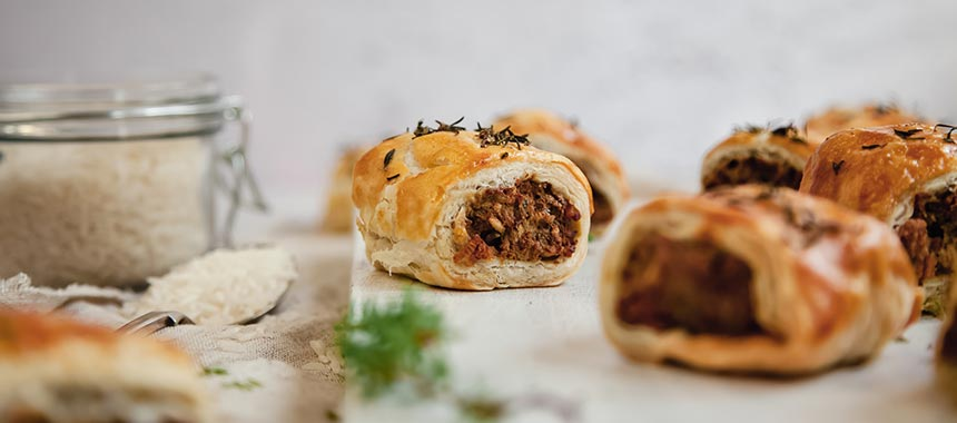 Sausage Rolls Made with USA Long Grain Rice